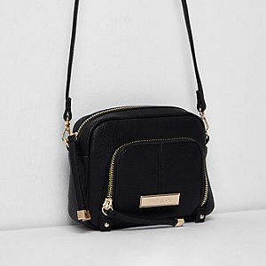 Black zip front pocket mini cross body bag