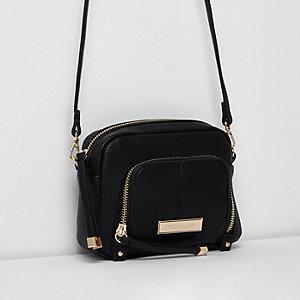 Mini sac bandoulière noir avec poche avant zippée