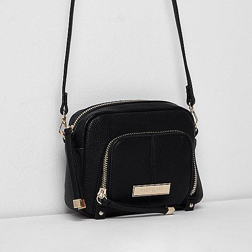 Black zip front pocket mini cross body bag