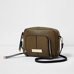Khaki zip front pocket mini cross body bag