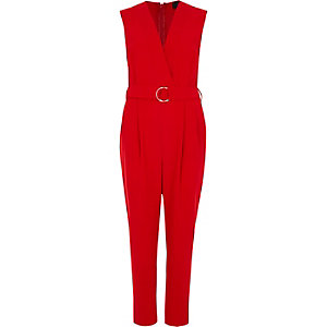 Red sleeveless tailored jumpsuit