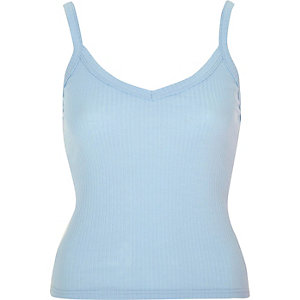 Light blue ribbed cami crop top