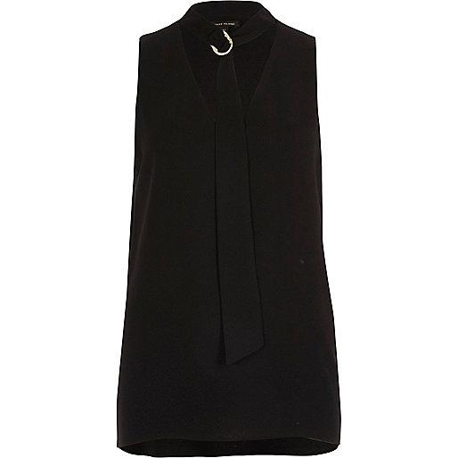 Black choker ring neck sleeveless top