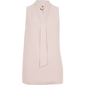 Light pink choker ring neck sleeveless top