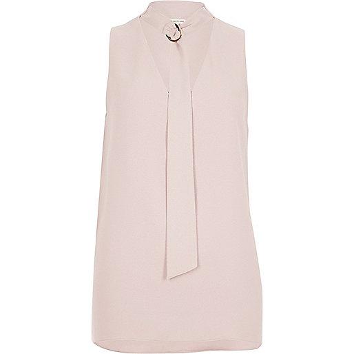 Light pink choker ring neck sleeveless top