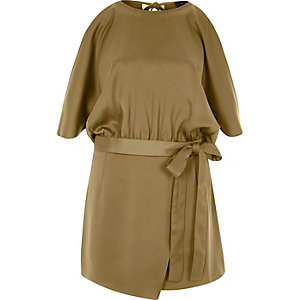 Brown cold shoulder wrap skort romper