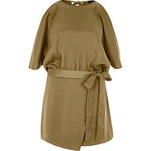 Combi-short marron drapé façon jupe-short à épaules dénudées