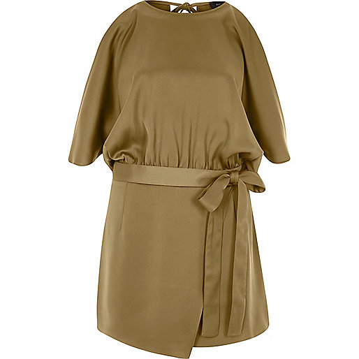 Brown cold shoulder wrap skort playsuit