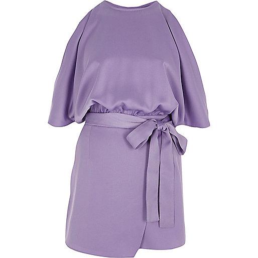 Purple cold shoulder wrap skort romper