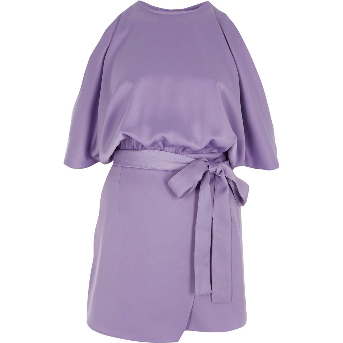 Purple cold shoulder wrap skort playsuit