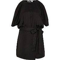 Combi-short noir drapé façon jupe-short à épaules dénudées