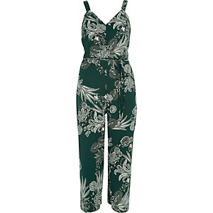 Green floral frill bow back culotte jumpsuit