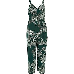 Combinaison jupe-culotte verte à motif floral avec volant et nœud au dos