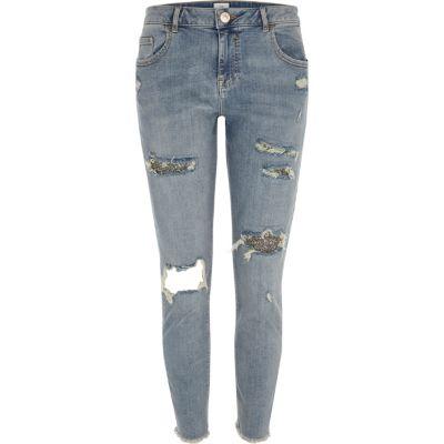 Alannah Blauwe relaxte ripped skinny jeans met glitter