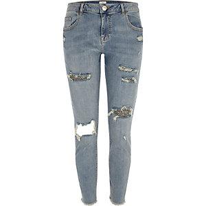Alannah – Blaue, glitzernde Skinny Jeans