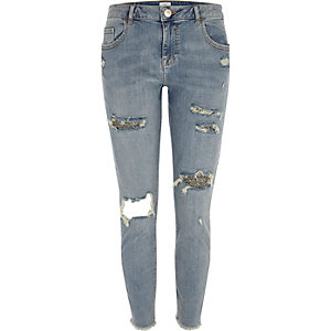 Alannah - Blauwe relaxte ripped skinny jeans met glitter