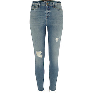 Molly – Hellblaue Skinny Jeggings im Used-Look