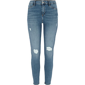 Mid blue Molly ripped skinny jeggings