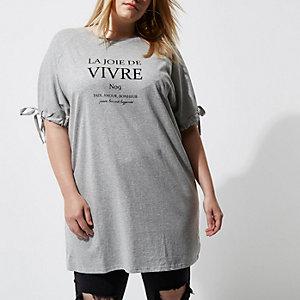 Plus – T-shirt « Vivre » gris à manches nouées