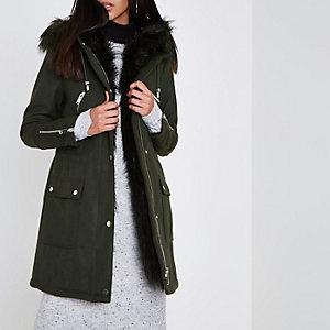 Khaki faux fur trim smart parka