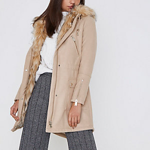 Camel faux fur trim parka