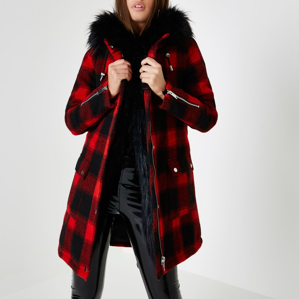 Red lumberjack check faux fur trim parka