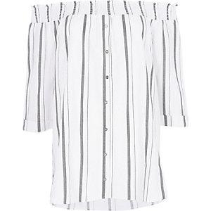 Chemise Bardot froncée rayée grise