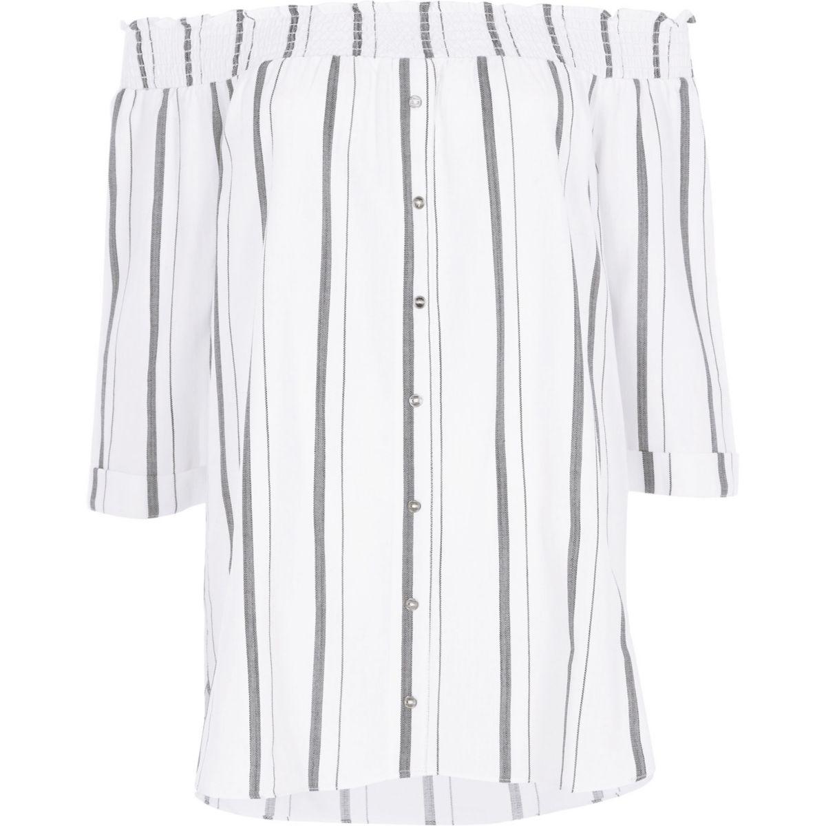 Grey stripe shirred bardot shirt