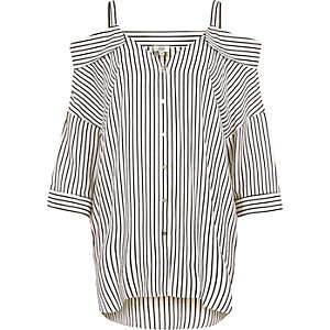 Wit gestreept mouwloos overhemd