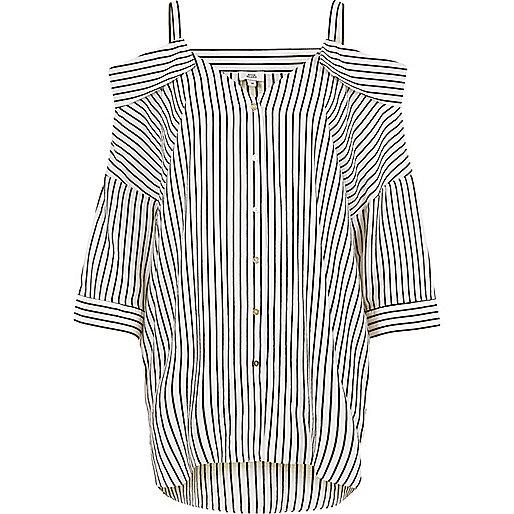 White stripe cold shoulder shirt