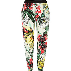 Pantalon de jogging en jersey flammé imprimé fleuri crème
