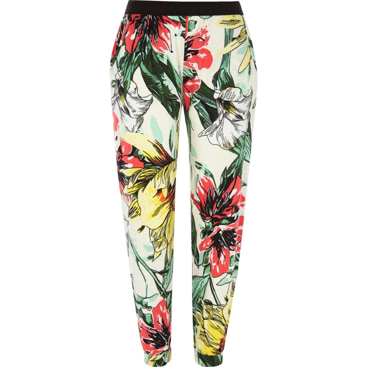 Cream floral print jersey slub joggers