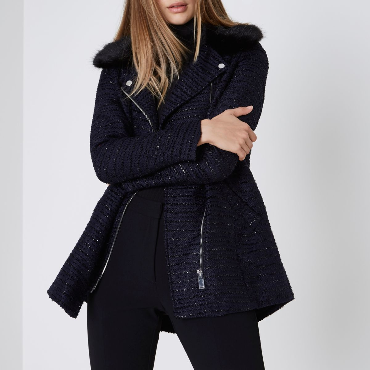 Navy glitter faux fur collar coat