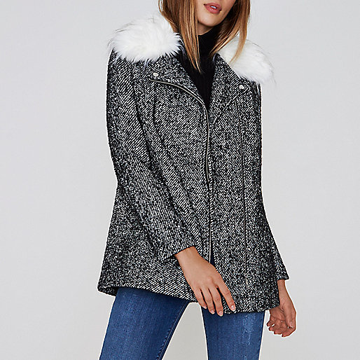 Black tweed faux fur collar biker coat