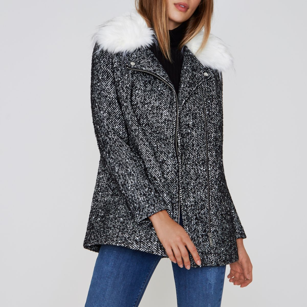 Black tweed faux fur collar biker coat