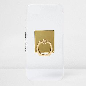 Housse pour téléphone blanche ornée d'un anneau pour selfie