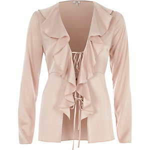 Pink satin frill tie-up long sleeve blouse