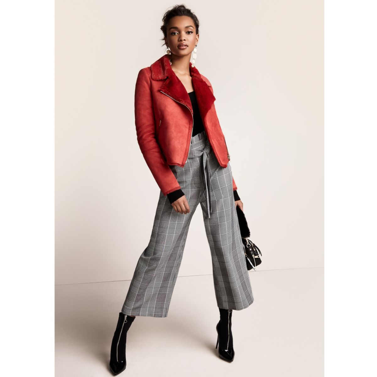 Red faux shearling biker jacket