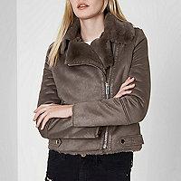 Grey faux shearling biker jacket