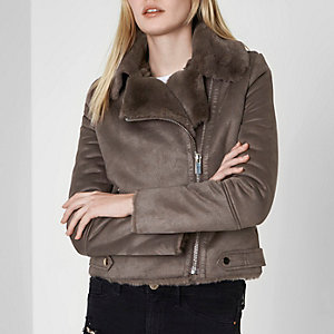 Grey faux shearling biker jacket