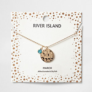 Blue gem March birthstone necklace