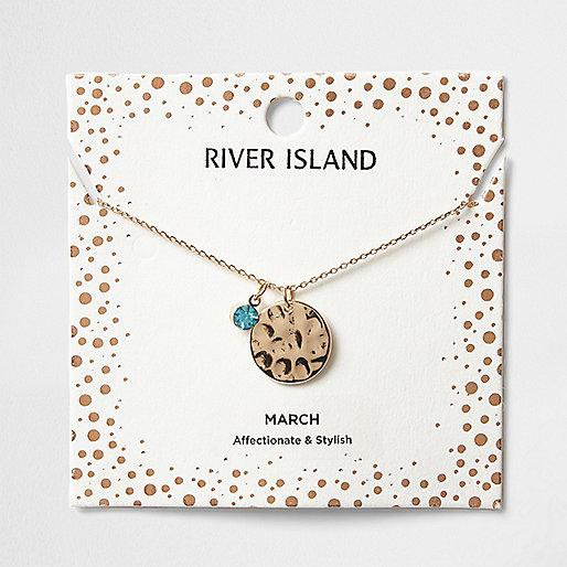 Blue gem April birthstone necklace