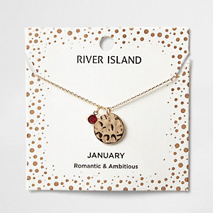 Red gem January birthstone necklace