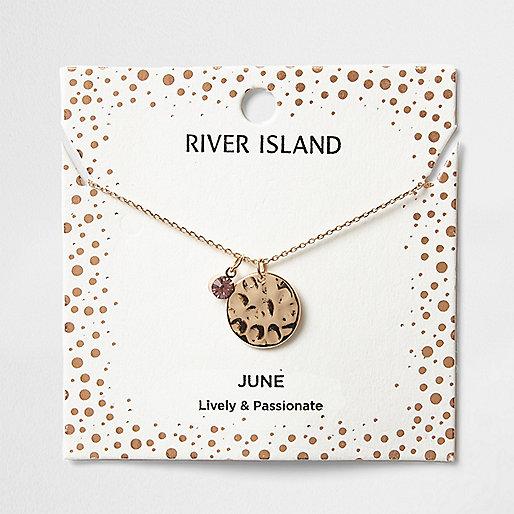 Collier avec pierre de naissance mois de juin