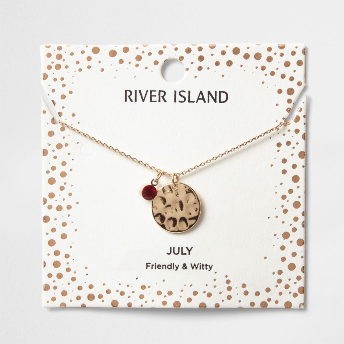 Red gem July birthstone necklace