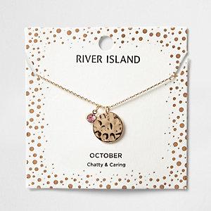 Pink gem October birthstone necklace