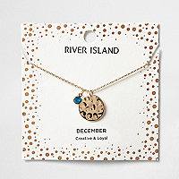 Blue gem December birthstone necklace