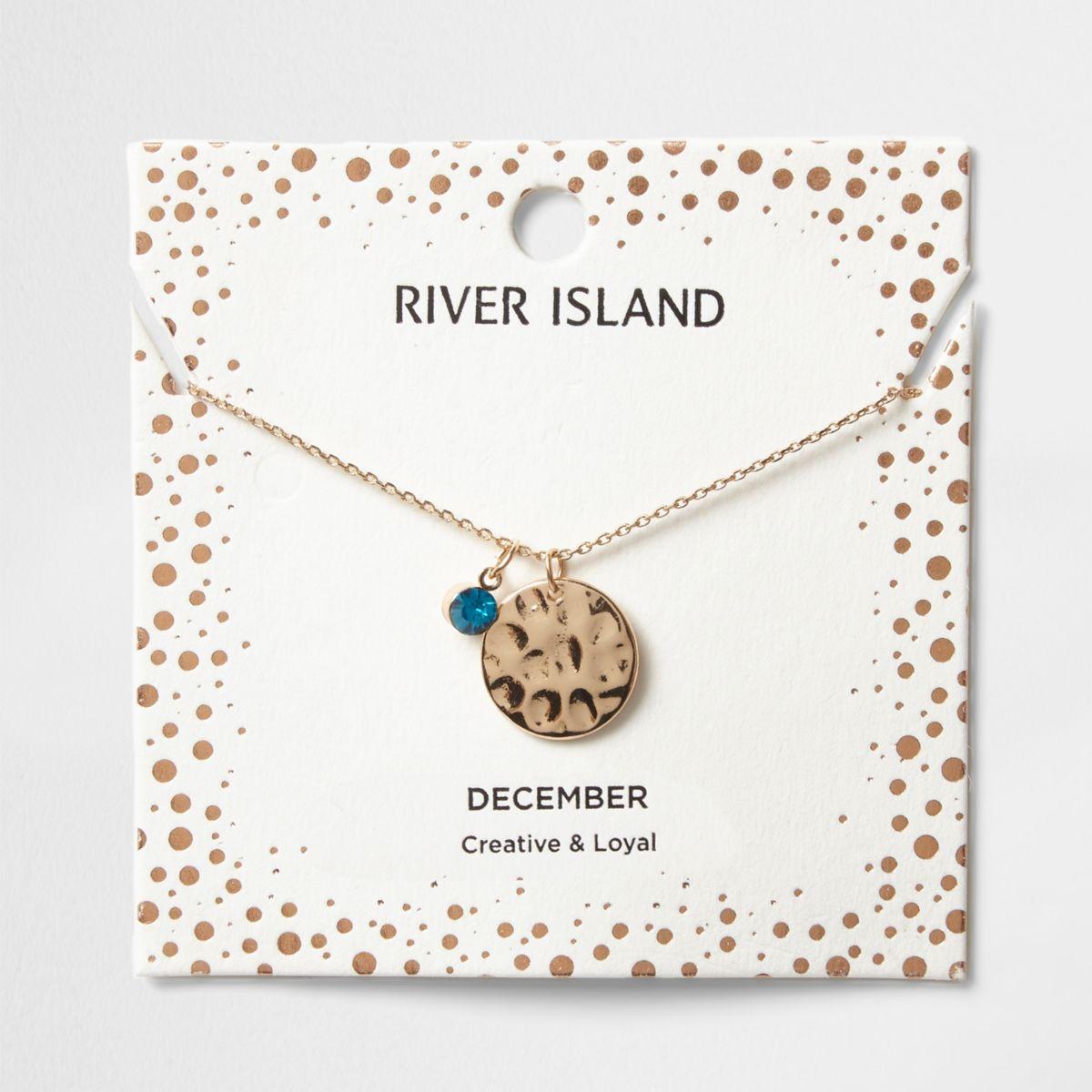Blue gem December birthstone necklace