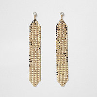 Gold tone chainmail drop earrings