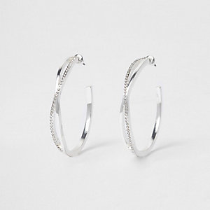 Silver tone twist pave hoop earrings